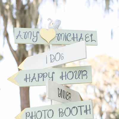 Blue wedding signs