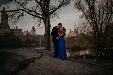 Outdoor autumn blue long wedding dresses