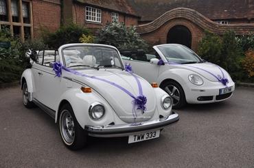 Vintage white wedding transport