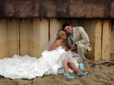 Beach white wedding shoes