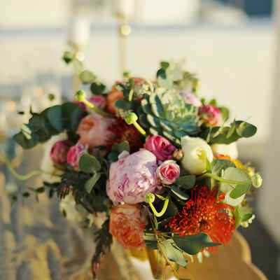 Red outdoor wedding floral decor