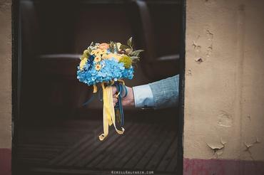 Yellow hydrangea wedding bouquet