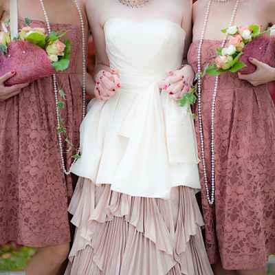 Pink open wedding dresses