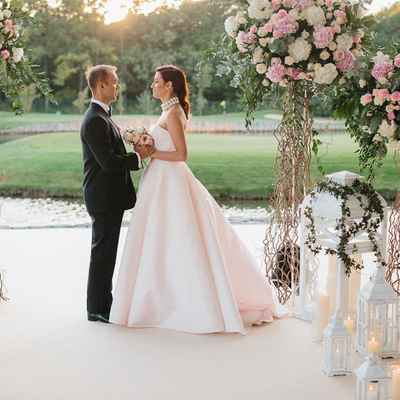 Outdoor pink long wedding dresses