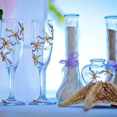 Marine purple wedding ceremony decor