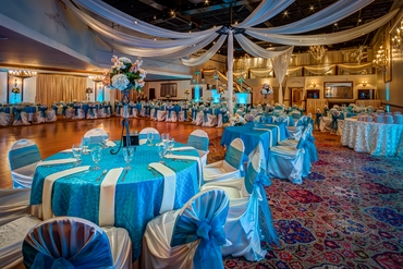 Blue wedding reception decor