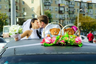Pink wedding transport decor