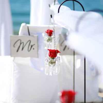 Beach white wedding reception decor