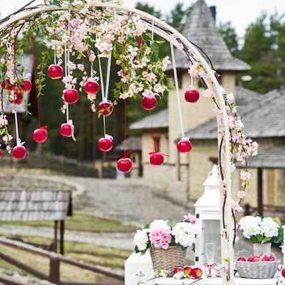 Fruit pink wedding ceremony decor