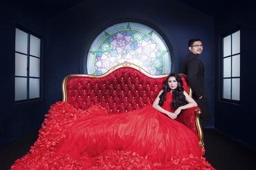Overseas red long wedding dresses