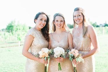 Outdoor gold bridesmaids