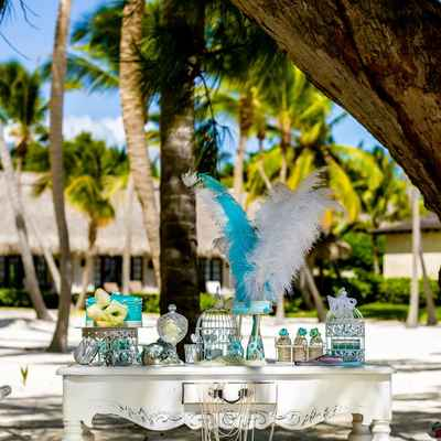 Beach blue photo session decor