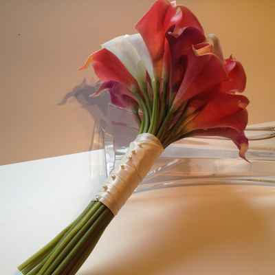 Red calla wedding bouquet
