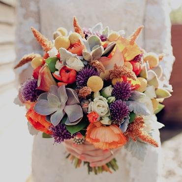 Orange anemone wedding bouquet