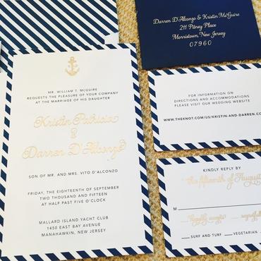 Marine blue wedding invitations