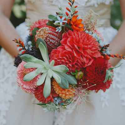 Autumn red aster wedding bouquet