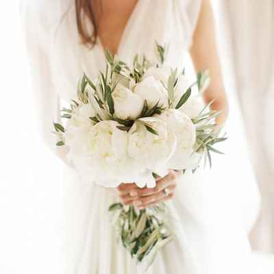 White peony wedding bouquet