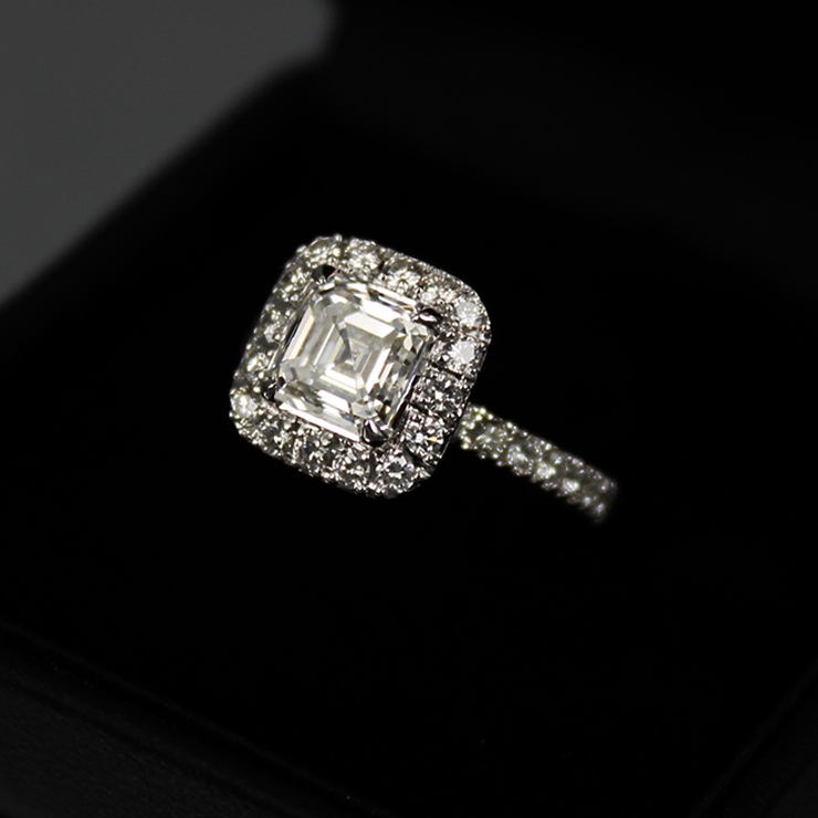 2.53 carats Asscher Cut Halo Design Diamond Ring. Set with 1.51 carats, F-color, VVS2-clarity
