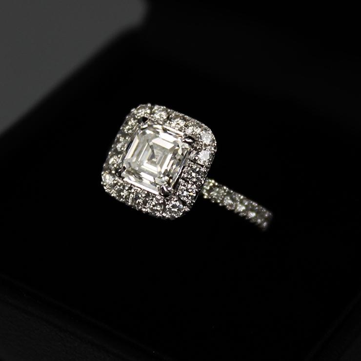 2.53 carats Asscher Cut Halo Design Diamond Ring. Set with 1.51 carats, F-color, VVS2-clarity