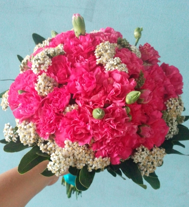 Pink carnation wedding bouquet