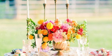Outdoor yellow wedding floral decor