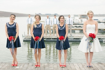Marine red bridesmaids