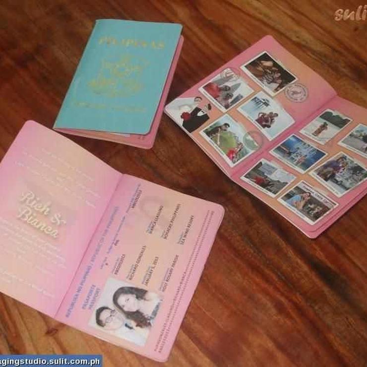 passport style wedding invitation