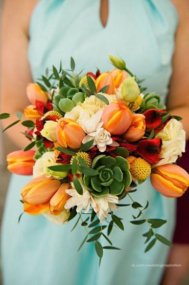 Autumn orange tulip wedding bouquet