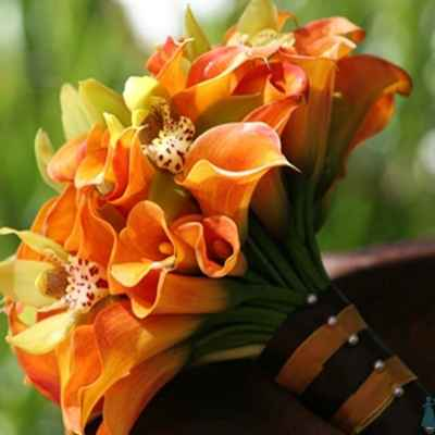 Autumn orange calla wedding bouquet