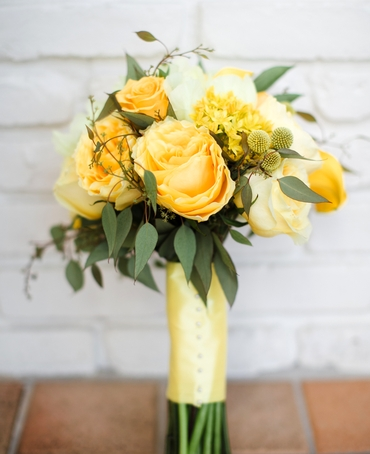 Yellow rose wedding bouquet