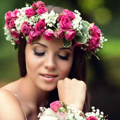 Rustic pink long wedding hairstyles