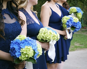 Outdoor blue hydrangea wedding bouquet