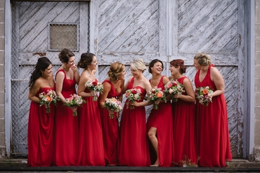 Outdoor red bridesmaids