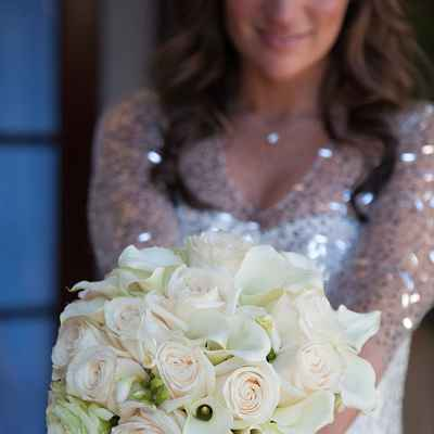 White rose wedding bouquet