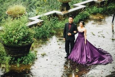 Outdoor purple long wedding dresses