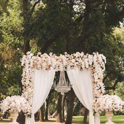 Ivory outdoor wedding ceremony decor