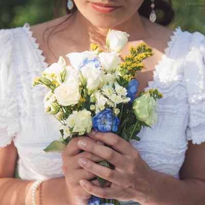 Rustic blue eustoma wedding bouquet