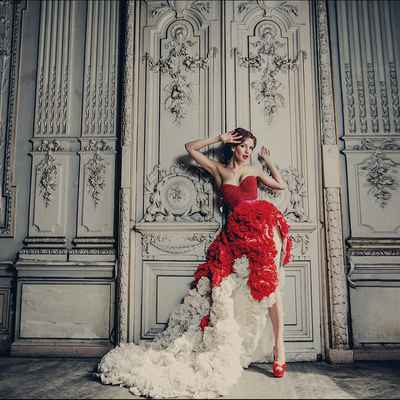 Red long train wedding dresses