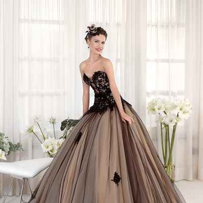 Brown long wedding dresses