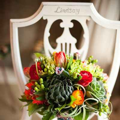 Autumn green alternative wedding bouquet