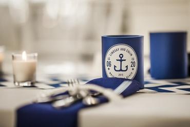 Marine wedding reception decor