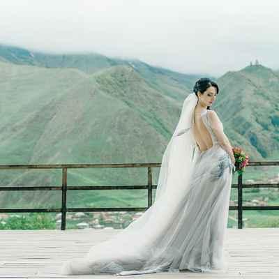 Grey outdoor long wedding dresses