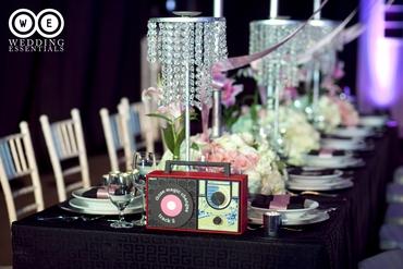 Themed black wedding reception decor