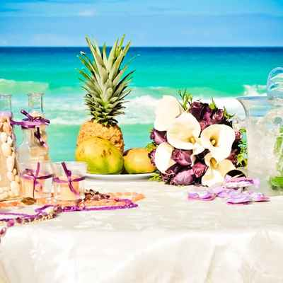 Beach pink wedding reception decor