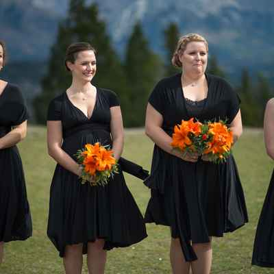 Black outdoor bridesmaids