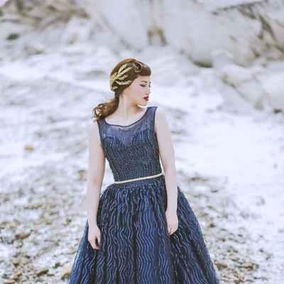 Outdoor winter blue long wedding dresses