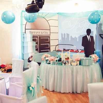 Breakfast at tiffany's blue wedding reception decor