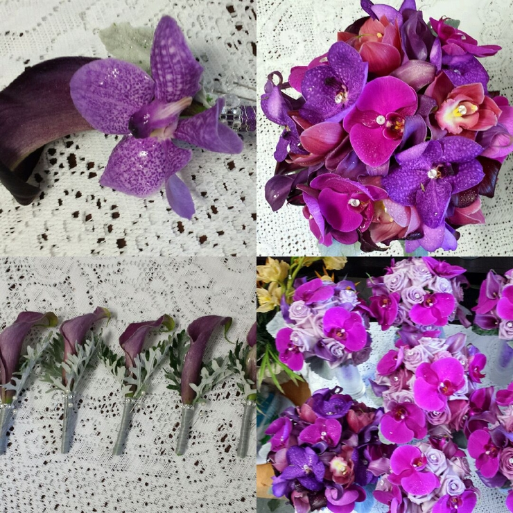Purple, Lavender and Fushisa wedding theme