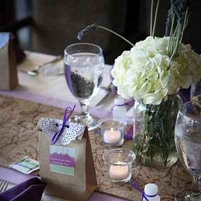 Rustic purple wedding favours