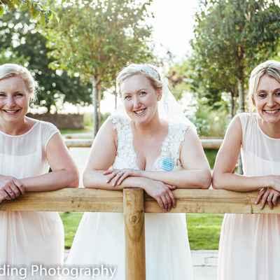 Rustic white bridesmaids